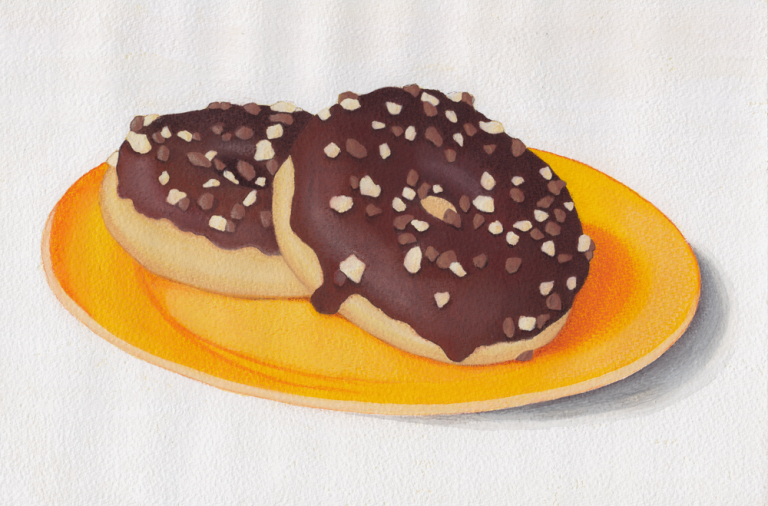 Doughnut still life - mixed media gouache and pastel