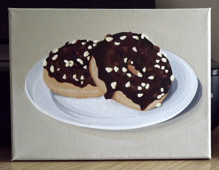 Doughnut still life painting - acrylic on canvas