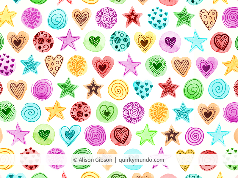 Doodle pattern using watercolour and fine liner