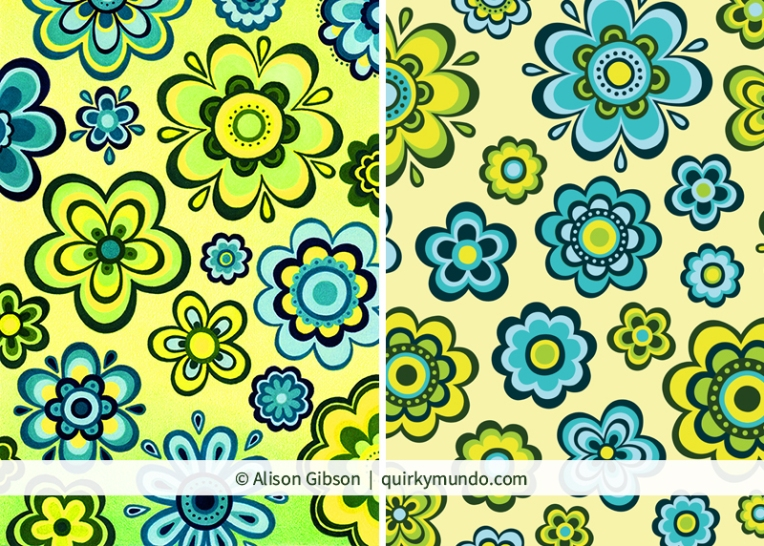 Hand drawn to vector versions of a lime and blue floral pattern