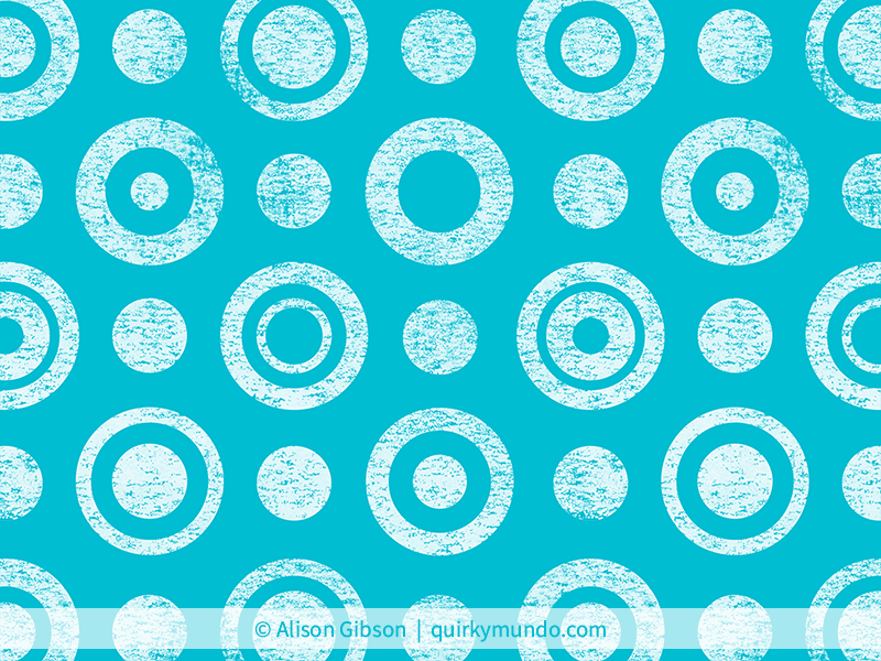 Lino textured concentric circle pattern design in blue and white