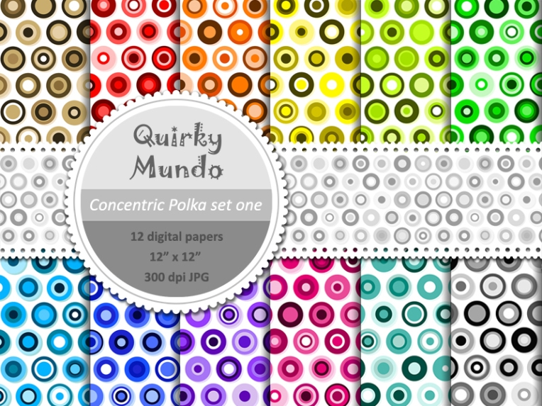 Printable craft papers full set preview - Quirky Mundo