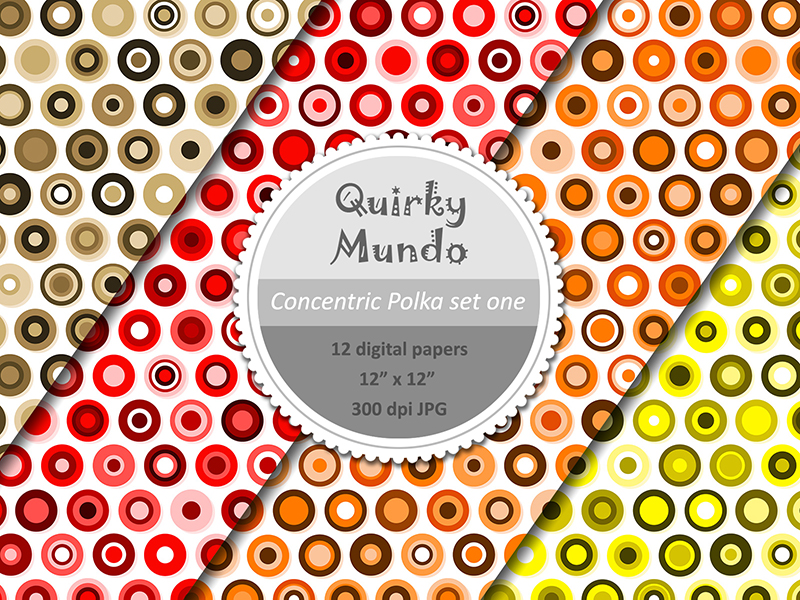 Concentric Polka printable papers first 4 colours - Quirky Mundo