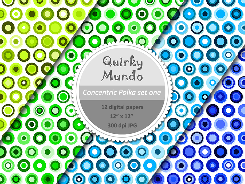 Concentric Polka printable papers second 4 colours - Quirky Mundo