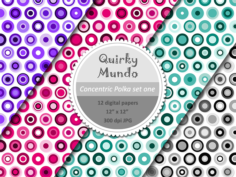 Concentric Polka printable papers third 4 colours - Quirky Mundo